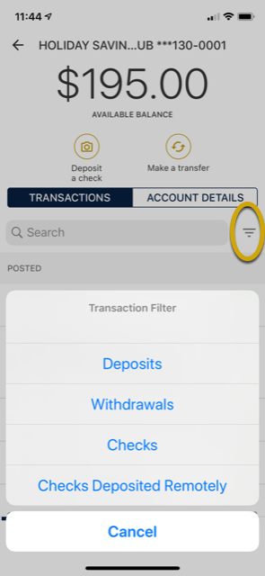 screenshot of SPIRE Mobile App transaction filter feature