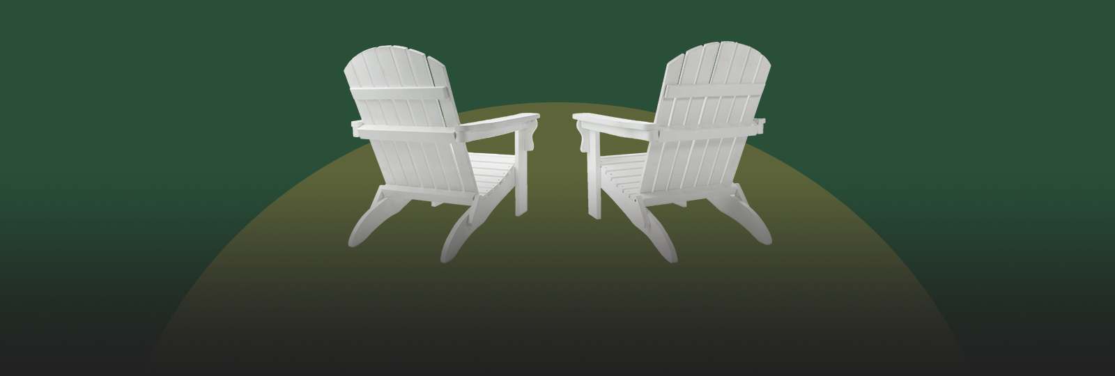 two white patio chairs facing away from the camera